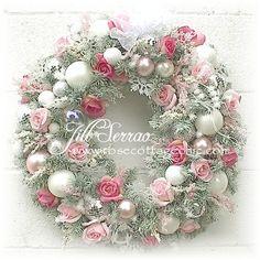 "lush christmas wreaths   Romantic Christmas Wreath ~ 23"" ~ Sage w/Pink Roses, Snowflakes & More ..."