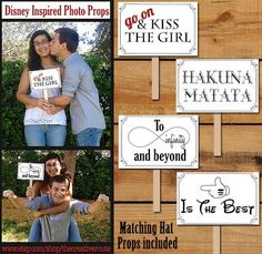 Disney Photo Props Printable  DIY 24 different photo booth props for party, disney wedding, or photo shoots. Go on and kiss the girl- to infinity and beyond  #disney-photobooth#photo-booth-props