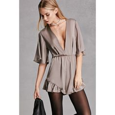 Forever21 Reverse Satin Ruffled Romper ($58) ❤ liked on Polyvore featuring jumpsuits, rompers, grey, forever 21 rompers, forever 21 romper, flounce romper, ruffle rompers and brown romper