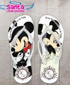 Chinelo Casamento Mickey e Minnie Branco Personalizado - COD 2839 1