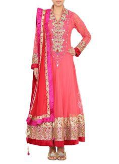 Cbazaar Pretty Net Ankle Length Anarkali Suit