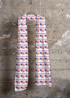 Cashmere Modal Scarf - United States Of America in Blue/Purple/Red by VIDA Original Artist Vida Design, Floral Tie, Oil On Canvas, Street Art, Contemporary, Modern, Original Art, United States, The Originals