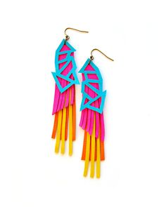 Neon Triangle Leather Earrings