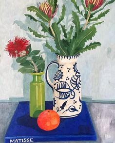 Melanie Vugich (@melanievugich) • Instagram photos and videos Book Flowers, Matisse, Still Life, Fabric Design, Tea Pots, Planter Pots, Table Decorations, Photo And Video, Interior