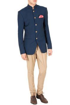 Sahil Aneja Blue and beige jodhpuri set Indian Men's Fashion