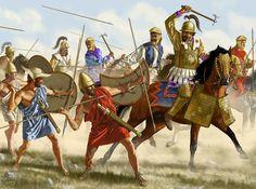 A batalha de Cunaxa foi travada em 401 aC entre Ciro, o Jovem, e seu irmão mais velho Arsaces, que tinha herdado o trono persa Artaxerxes II como em 404 aC. A grande batalha da revolta de Ciro ocorreu 70 km ao norte da Babilônia, no Cunaxa, na margem esquerda do rio Eufrates. A principal fonte é uma testemunha ocular e soldado, Xenofonte grego. Artwork by J. Shumate