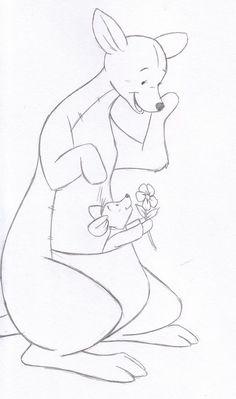 hand drawn kanga and roo