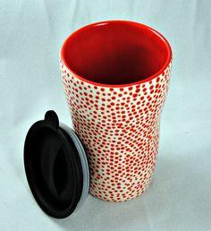 Ceramic Travel Mug/Tumbler with a lid. $24.00, via Etsy.