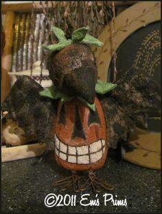 Primitive Pumpkin Crow Halloween doll