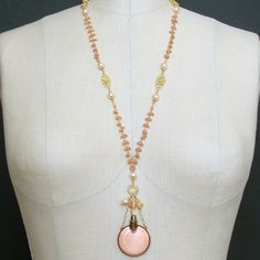#4 Aline Necklace - Coral Filigree Guilloche Chatelaine Scent Bottle