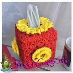 Crochet Tissue Box Cover This beautiful handmade crocheted tissue box will fit any standard square box. Made in 100% Acrylic yarn and using 5.00mm hook.  I can make this in any combination of colors. Please feel free to message me.  This listing is one tissue box cover only.  Care instructions:hand wash and lay flat to dry.  Thank you for taking your time to look at my shop and I hope you enjoy here in MichelleCraftyShop.
