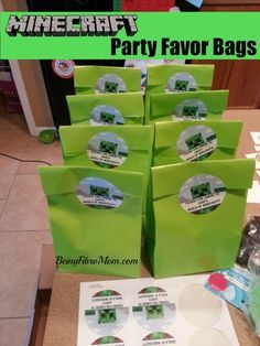 Minecraft party favor bags #minecraft #minecraftparty #minecraftbirthday…