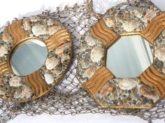 Retro Set of Nautical Wall Mirrors Seashells with Detached Fish Netting
