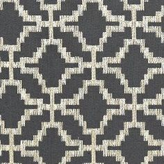Fabric | Sarana Linen Embroidery in Carbon | Schumacher