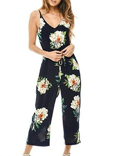 e522413b6c4 Glamaker Women s Summer Beach V Neck Boho Strap Jumpsuit Long Pants with Floral  Print Floral Romper