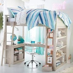 Loft Beds with Desk in 20 Chic Girls Bedroom is part of Small room bedroom - Every girl is a princess and parents always want to give the best for them One way of doing that is by giving them their own fancy and chic bedroom Cute Bedroom Ideas, Girl Bedroom Designs, Awesome Bedrooms, Cool Rooms, Bed Designs, Small Room Bedroom, Bedroom Loft, Dream Bedroom, Girls Bedroom