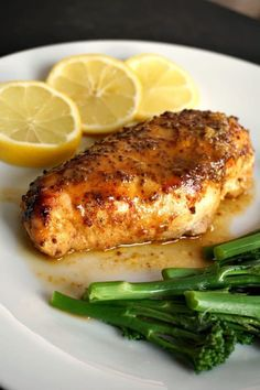 Baked honey mustard chicken breast with a touch of lemon, an absolutely delicious, low-carb and healthy meal for two. Serve it with broccoli spears.