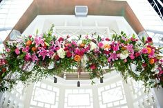 Pink and Blue color palette chuppah from Washington DC Modern Jewish Wedding