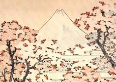 'Mount Fuji seen through cherry blossom', from One Hundred Views of Mount Fuji (1834)