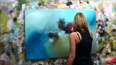 "Abstract Art Painting Demo - Original by Shari Kreller - ""Ocean Rush"" Abstract Painting Techniques, Painting Videos, Art Techniques, Art Courses, Abstract Canvas, Painting Abstract, Art Tutorials, Watch, Abstract Art"