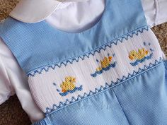 Smocked Romper with dunkin duckies by Southern Matriarch Smocking Baby, Smocking Plates, Smocking Patterns, Cute Outfits For Kids, Baby Boy Outfits, Smocked Baby Clothes, Smocked Clothing, Smocked Dresses, Punto Smok