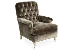 Blazer Tufted Chair, Gray Velvet. Love how sumptuous this looks, One Kings Lane
