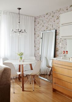 Main Street Condo | The Cross Condo Interior Design, Interior Design Services, First Apartment, Apartment Ideas, Cole And Son, Main Street, Lilac, Maine, Dining Chairs