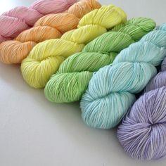 Hand dyed Yarn Pastel Rainbow Set 600g DK / Sock by HandDyedByKate