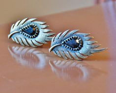 Peacock Feather CuffLinks  Small Black Feathers by CleopatraNYC, $65.00