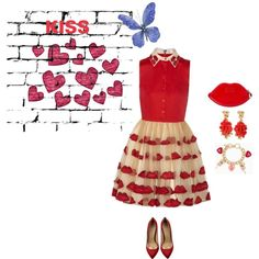 A fashion look from January 2015 featuring satin pumps, patent wallet and heart charm bracelet. Browse and shop related looks. Kiss, Fashion Outfits, Shoe Bag, Polyvore, Stuff To Buy, Shopping, Collection, Design, Women