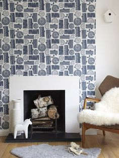 Wood pile wall paper from Roddy and Ginger