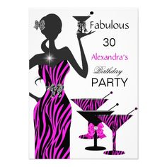 Glamorous Party Girl Zebra Martini Birthday Personalized Invite Personalized Invitations by Zizzago.com