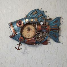 Steampunk Clock, Wood Watch, 1, Fish, Sculpture, Steampunk Watch, Wooden Clock, Pisces