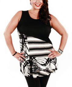 Look what I found on #zulily! Black & White Abstract Sleeveless Tunic - Plus by Lily #zulilyfinds