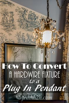 Have a light fixture that you want to be able to plug in? See our step-by-step instructions on how to convert a hardwire fixture to a plug in pendant. Plug In Hanging Light, Plug In Chandelier, Plug In Pendant Light, Crystal Chandelier Lighting, Hanging Light Fixtures, Pendant Light Fixtures, Diy Hanging, Hanging Lights, Chandeliers