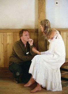 Quentin Tarantino & Uma Thurman on the set of Kill Bill