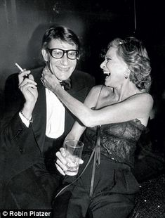 Partying with Yves Saint Laurent at Studio 54 in 1978 to celebrate the launch of his Opium fragrance.