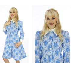 60s Blue White Floral Dress Sixties Mod by neonthreadsdesigns, $38.00