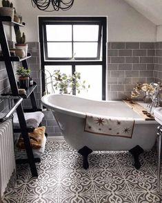 Hampton Grey Feature Tiles 33x33cm | Metro Tiles Upstairs Bathrooms, Dream Bathrooms, Beautiful Bathrooms, Small Bathroom, Bathroom Interior Design, Home Interior, Interior Livingroom, Interior Plants, Interior Colors