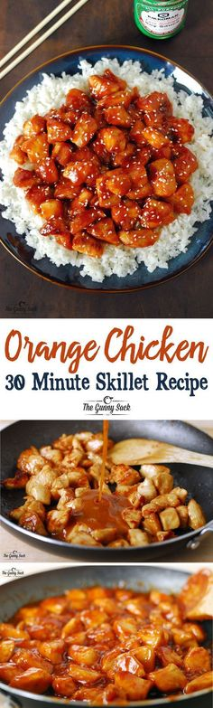 Orange Chicken 30 Minute Skillet Recipe via The Gunny Sack - An easy dinner idea that is family friendly! Homemade is always better than takeout! - The BEST 30 Minute Meals Recipes - Easy, Quick and Delicious Family Friendly Lunch and Dinner Ideas #chickenfoodrecipes