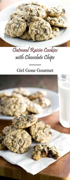 Oatmeal cookies full of plump raisins and melty chocolate chips | girlgonegourmet.com