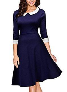 MIUSOL Women's Christmas 1950s Vintage A Line 3/4 Sleeve Shirt Blue Dress (Medium, Blue): Amazon.co.uk: Clothing