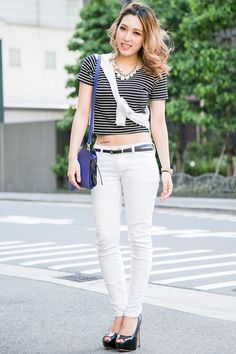 Crop Top with Tattoo on Hip Showing - Japanese Street Fashion