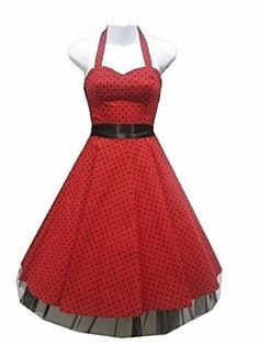H R London Dress Red Black Polka Dot 50's Pinup Punk Vintage 0211 | eBay