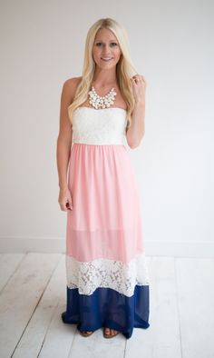 Magnolia Boutique Indianapolis - Peach and Navy Lace Maxi Dress, $39.00 (http://www.indiefashionboutique.com/peach-and-navy-lace-maxi-dress/)