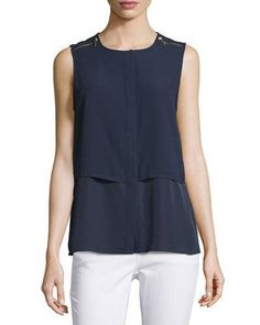 MICHAEL Michael Kors Zip-Shoulder Sleeveless Blouse, Real Navy New offer @@@ Price :$58.75 Price Sale $39