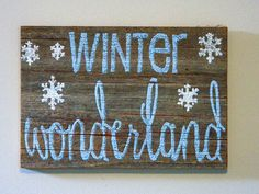 Winter Wonderland - Rustic Winter Decor - Barnwood Christmas Decoration - Hand Painted Winter Wonderland Wood Sign with Snowflakes on Etsy, $30.00