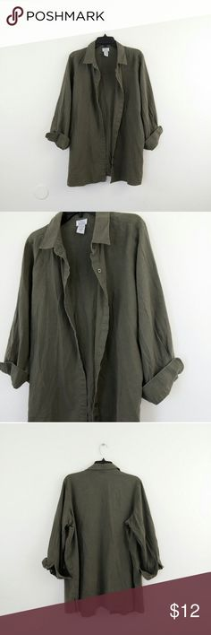"Olive Linen Button Front Top This goes with everything, jeans skirts, shorts, and lounging, It's very comfy and cozy.  Armpit to Armpit Laying Flat - 25"" Length from Collar to Hem - 30""  **I ship everyday except for Sundays Only Necessities Tops Button Down Shirts"