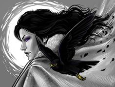 Yennefer and a kestrel by Anastasia Kulakovskaya (Witcher)