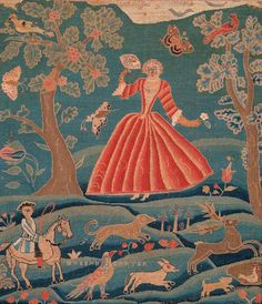 Hannah Carter Canvaswork Picture Hannah Carter (dates unknown) Boston, Massachusetts, United States c. 1748 Silk and wool on fin linen 21 x 18 Collection American Folk Art Museum, New York Gift of Ralph Esmerian, Photo by John Parnell Tent Stitch, Work Pictures, Textiles, Religious Art, Quilting Designs, Fiber Art, Art Museum, Folk Art, Needlework